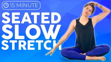 15 minute Seated Yoga Stretches for Headaches, Anxiety & Tension | Sarah Beth Yoga